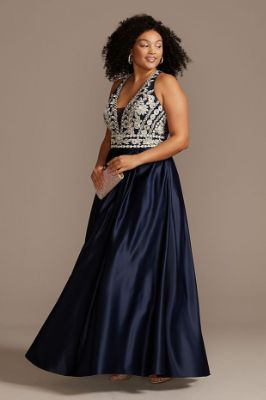 Embellished Satin Plus Size Gown with Open Back