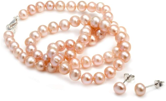 Eternal Pink Pearl Necklace and Earring Set
