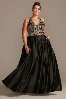 Floral Embellished Halter Satin Plus Size Gown