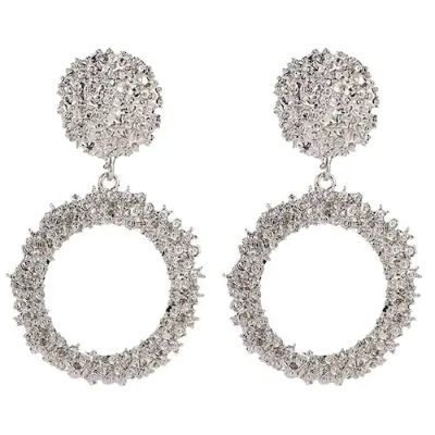 Great Circle Earrings with Retro-Style Metal Pattern-Silver US 9
