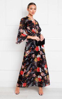 IKRUSH Alia Printed Floaty Maxi Dress Black
