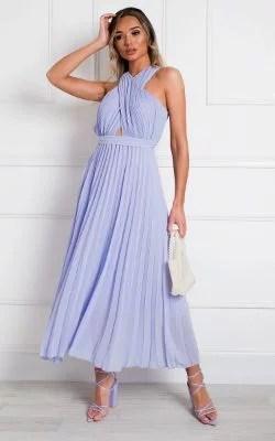 IKRUSH Ryanna Pleated Crossover Maxi Dress LILAC