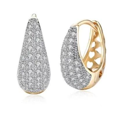K Gold Zircon Earring Teardrop-Shaped Diamond Insert Romantic Wind Earring Clip-Champagne Gold