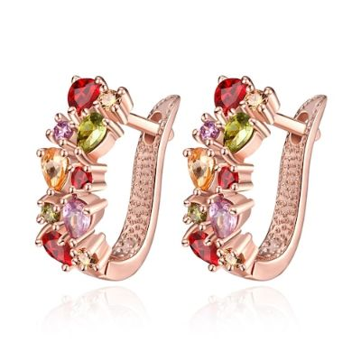 K Gold Zircon Fashion Selling Dazzling Colorful Zircon Lady Ear Clasp-Rose Gold