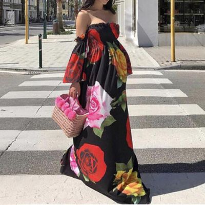 Maternity Floral Pattern Off-The-Shoulder Maxi Dress