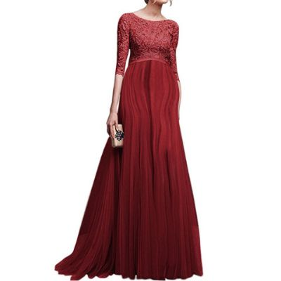 Maternity Lace Off Shoulder Long Sleeve Maxi Dress