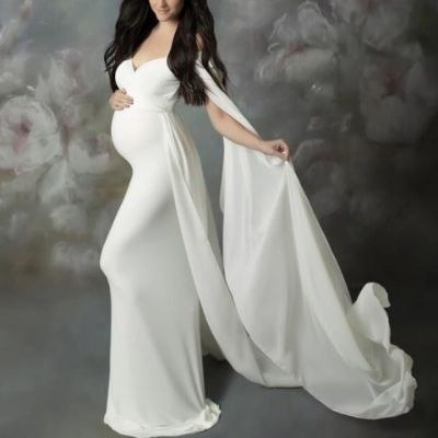 Maternity V-Neck Strapless Cape Maxi Photo Dress