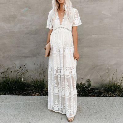 Maternity V-neck Short Sleeve Off The Shoulder White Lace Dress Maxi Dress