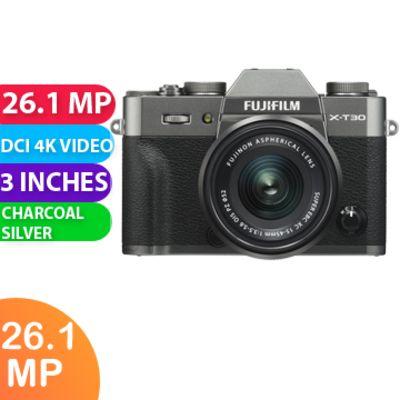 New FUJIFILM X-T30 Mirrorless Digital Camera with 15-45mm Lens Charcoal Silver