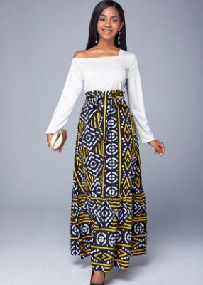 ROTITA Long Sleeve Printed Asymmetric Neck Belted Dress