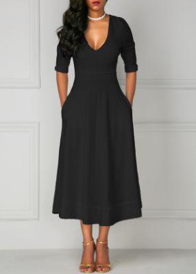 ROTITA V Neck Black Pocket Design Half Sleeve Dress