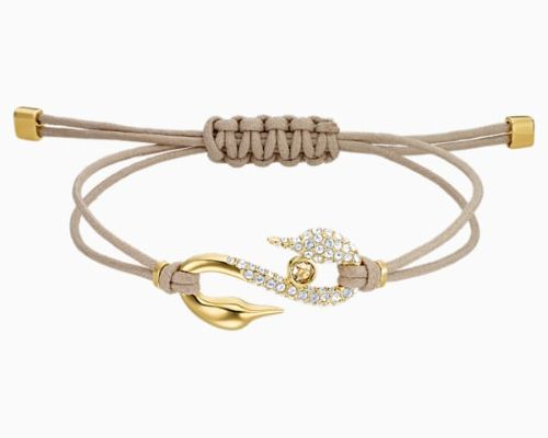 SWAROVSKI POWER COLLECTION HOOK BRACELET, BEIGE, GOLD-TONE PLATED