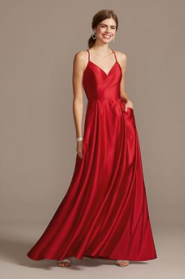 Satin Spaghetti Strap Ball Gown with Pockets