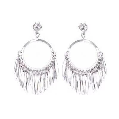 Women Fashion Fringe Sequin Metal Earrings-Silver