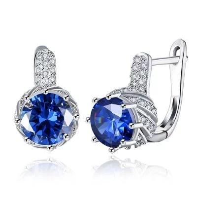 Zircon Earring Blue Round Diamond Romantic Wind Earring Clip-Silver
