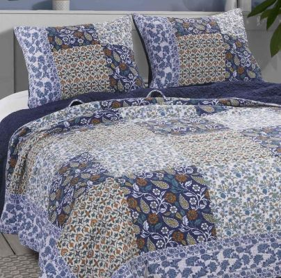 3 Piece Cotton King Size Quilt Set with Leaf Print, Blue and White By Casagear Home