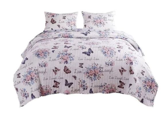 3 Piece King Size Quilt Set with Lily and Butterfly Print, Multicolor By Casagear Home
