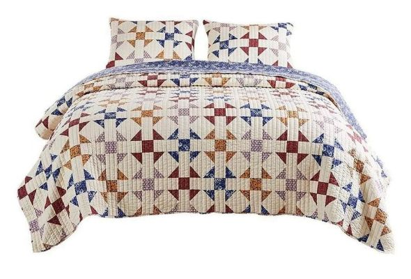 3 Piece Microfiber Full Size Quilt Set with Geometric Print, Multicolor By Casagear Home