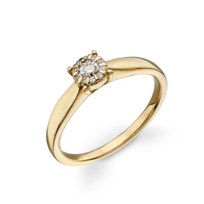 9ct Gold 0.11ct Diamond Cluster Ring
