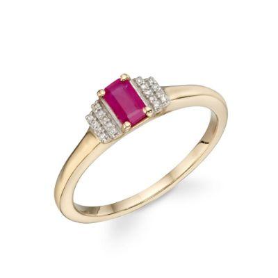 9ct Gold Ruby & Diamond Deco Ring