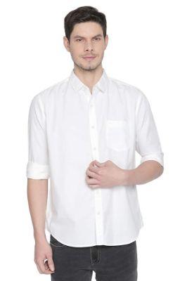 BASICS SLIM FIT CLOUD WHITE PEACH TWILL SHIRT-21BSH46286