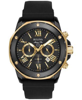 Bulova - Men's Chronograph Marine Star Black Silicone Strap Watch