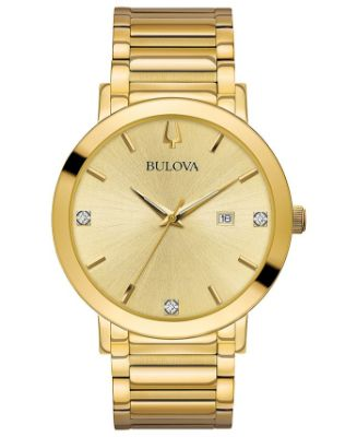Bulova - Men's Futuro Diamond Dress Diamond-Accent Gold-Tone Stainless Steel Bracelet Watch 42mm