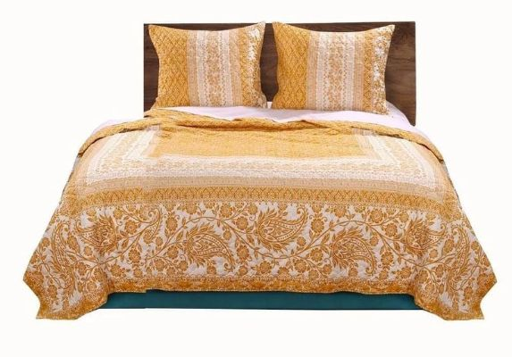 Fabric King Size Quilt Set with Paisley and Floral Motif, White and Orange By Casagear Home