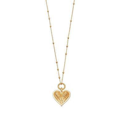 Gold ridge heart necklace
