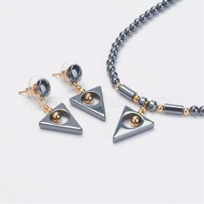 Non-Magnetic Synthetic Hematite Jewelry Sets, Stud Earrings and Pendant Necklaces, with Alloy Findings, Triangle, Grade A, 18.03inches(45.8cm)
