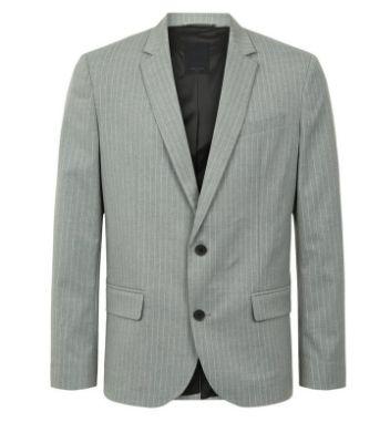 Pale Grey Pinstripe Suit Jacket