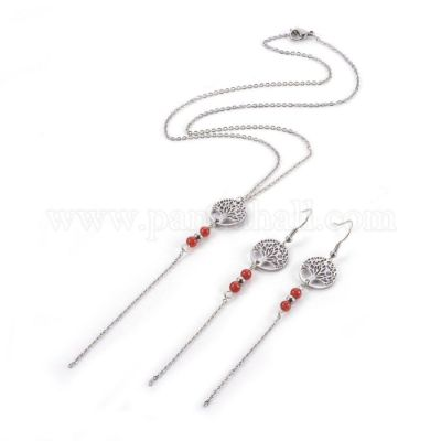 Stainless Steel Jewelry Sets, Pendant Necklaces and Dangle Earrings, with Natural Carnelian and Stainless Steel Findings, Flat Round with Tree of Life, Necklace