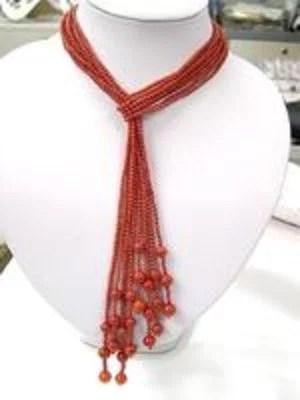 Wholesale 4 pcs 41'' red coral necklaces