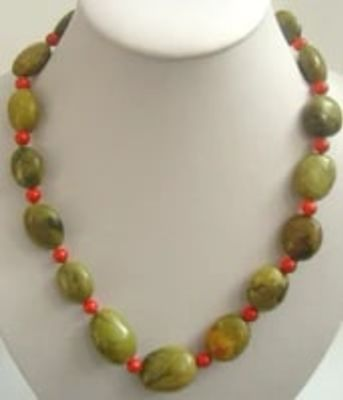 Yellow natural turquoise beads &coral necklace silver 925 clas