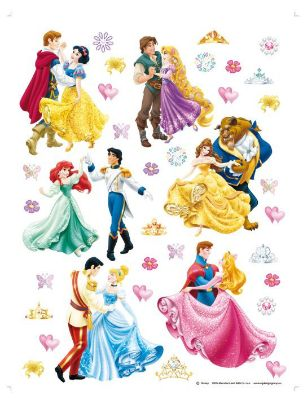 36 Disney Prince and Princess giant stickers