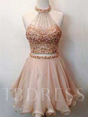 A-Line Halter Beading Short Sleeveless Homecoming Dress