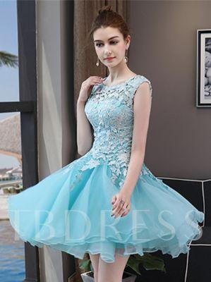A-Line Scoop Lace Sleeveless Mini Homecoming Dress