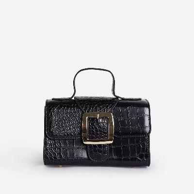 Arabella Buckle Detail Rounded Handle Mini Bag In Black Croc Patent
