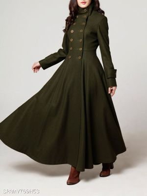 Autumn and winter new fashion waist double-breasted woolen coat