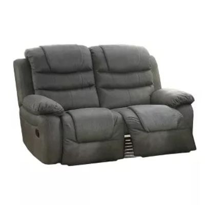 Breathable Leather, Solid Pine Plywood Reclining Loveseat Gray - Benzara