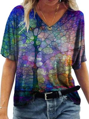 Casual V-Neck Abstract Painting Short-Sleeved T-Shirt