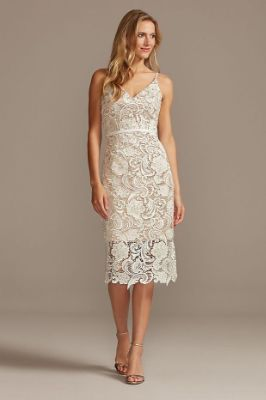 Crochet Lace Overlay Midi Spaghetti Strap Dress