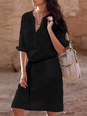 Fashion Long Sleeve V-neck Dress