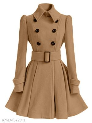 Fold Over Collar Ruffled Hem Belt Coat