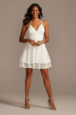 Glitter Lace Layered Hem Zippered Racerback Dress