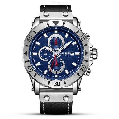 MEGIR 2081 Fashion Men Quartz Chronograph Wristwatch With 3 Sub-dial, Leather Band Sports Watch