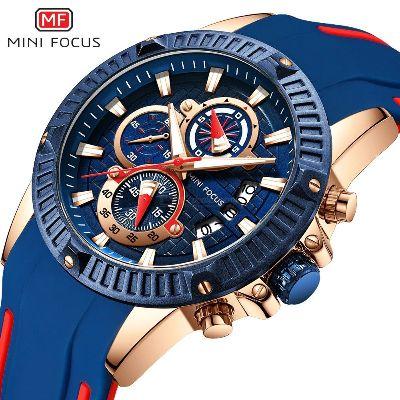 MINI FOCUS MF0244G Mens 38mm Luxury Quartz Sports Watch With Triple Time Zones