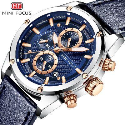 MINI FOCUS Men's Watch Sports Multifunction Alloy Quartz Watches Luminous Calendar Waterproof Leather Belt MF0161G