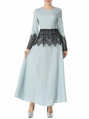 Mesh Panel Long Arabic Dress