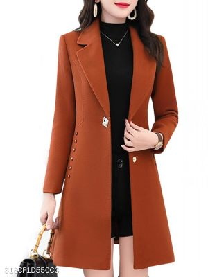 Notch Lapel Plain Medium length Coat